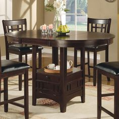 """Counter Height Table in Cappuccino - 42"""" round pub table expands to 60"""" with the 18"""" leaf (becomes oval)."""