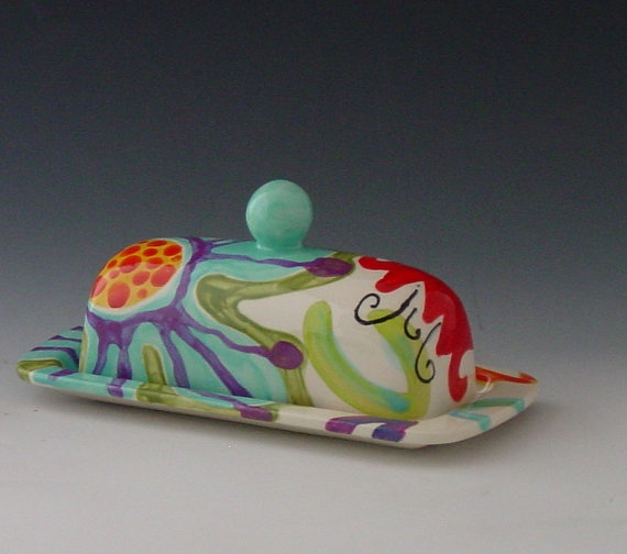 Butter Dish Jubilation Butter Dish Colorful by romyandclare, $48.00