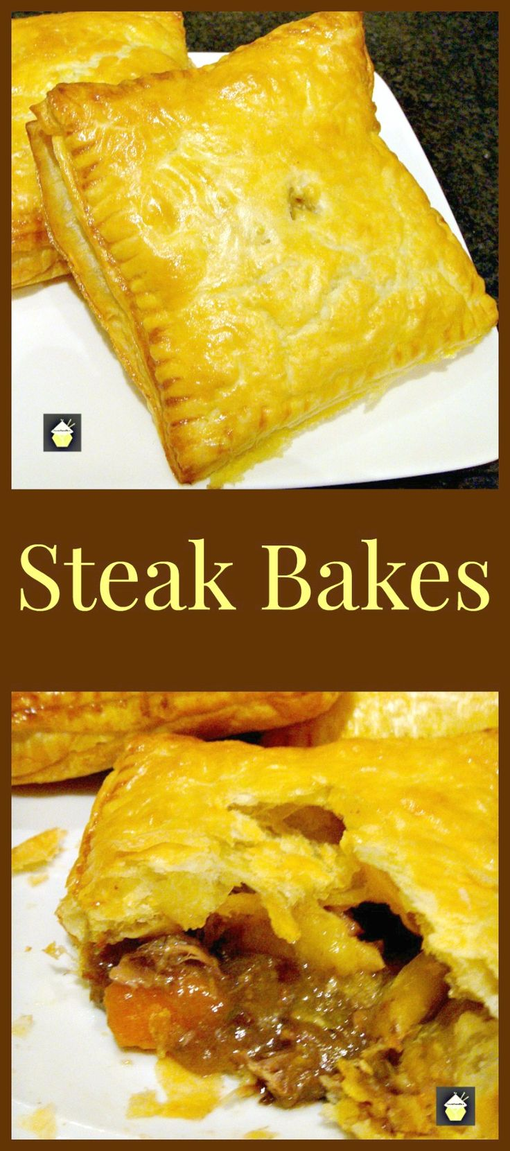 Steak Bakes (like Savory hand pies!). Delicious mini puff pastry pies using leftover fillings from your pot roasts, casseroles and roast dinners! Really easy to make and great for lunches or as part of a dinner.