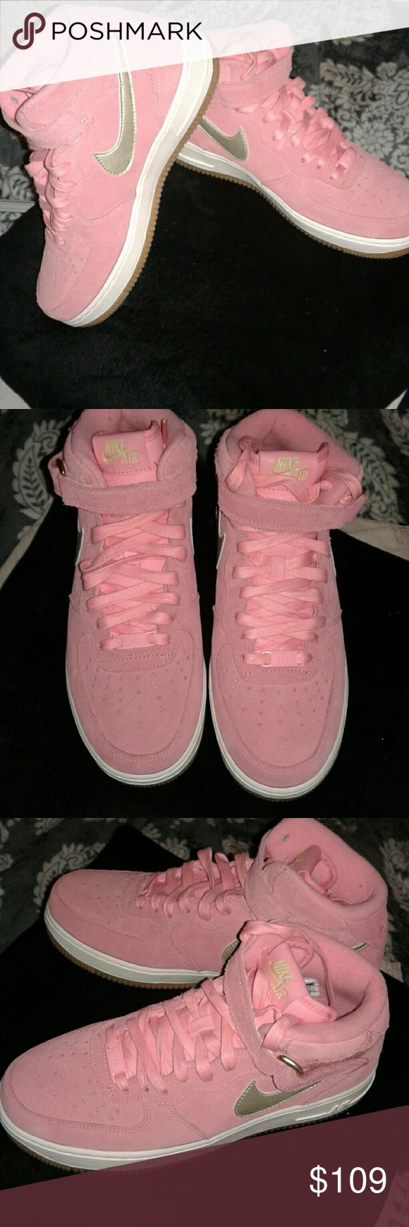 Nike Air Force One's Pink shoes! PINK suede Nike Air Force One's with silver stripe on side.  PINK laces.  Worn 1 time.  Protected with sneaker defense to repel water and dirt.  Very cute when worn with Jeans! Nike Shoes Sneakers