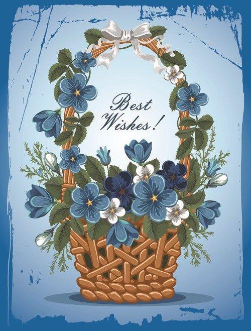 Flower Baskets Vector : Flower baskets wishes card vector ecards