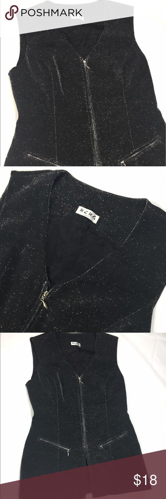 [B.C.B.G. Paris] Metallic Vest Size medium Black with silver sparkles  Zips in front BCBG Tops