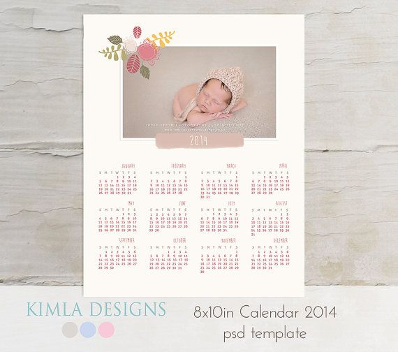 8x10in 2014 Calendar PSD Template vol2