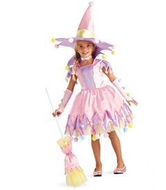 pompom witch costume - don't think there's a sweeter witch in all of witchdom. she's a whimsical confection of pastels and pompoms. her dress has a stand-up collar and skirt fashioned of pink and lavender overlays and yellow tulle. notice pompoms dangle from the skirt hem and her hat. even her matching broom gets dusted with them.