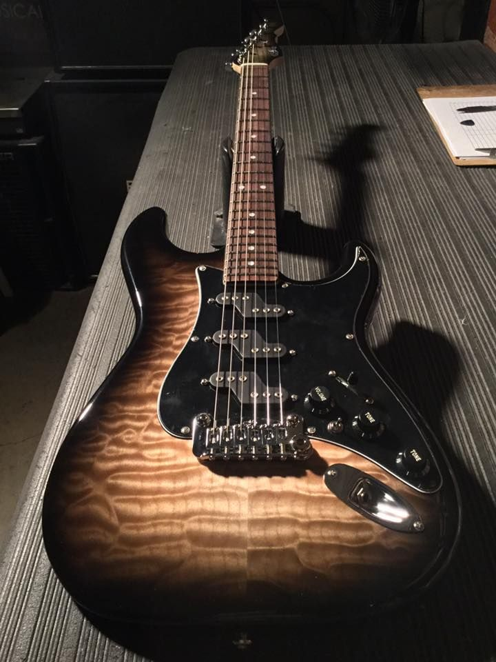 G&L Musical Instruments Comanche in Blackburst over quilted maple on swamp ash, 3-ply black guard, rosewood board, Clear Satin neck finish, body color headstock