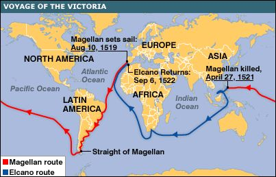 Magellan's voyage. 1519-1526.  (He died on the journey).