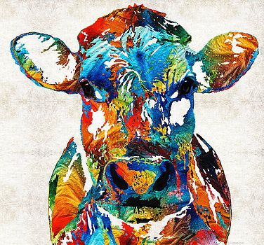Sharon Cummings - Colorful Cow Art - Mootown - By Sharon Cummings