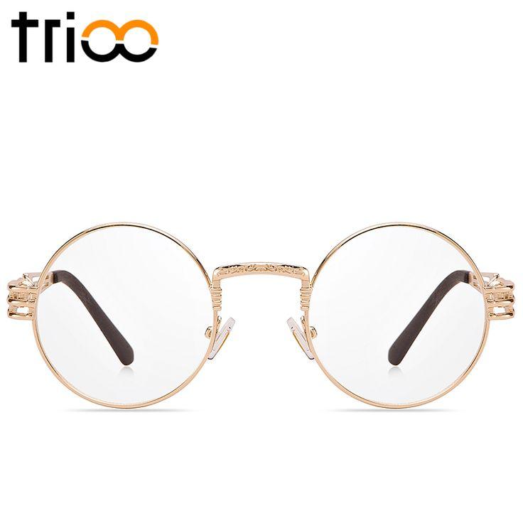 Ucuz Trioo vintage yuvarlak gözlük çerçeveleri altın metal şeffaf lens gözlük erkekler kadınlar cool steampunk stil optik gözlük orijinal kutusu, Satın Kalite gözlük çerçeveleri doğrudan Çin Tedarikçilerden:  1-The Çin Bahar Şenliği geliyor. tatil olduğunu fark edilmesi lütfen Jan.25th-Feb.03. gelen biz işe geri olacak üzerind