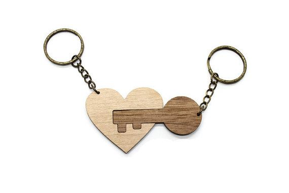 Laser Cut Wooden His and Her Key Chains - Gift - Key to my Heart - Walnut Wood - Maple Wood - Wooden Keychains
