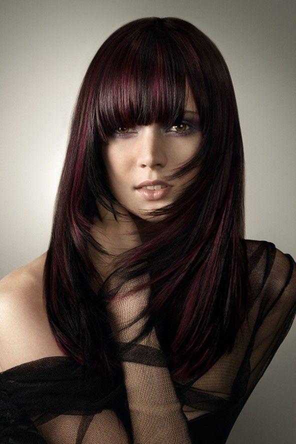 Deep BrunetteHair Colors Ideas, Purple Hair, Dark Hair, Haircolor, Black Hair, Purple Highlights, Beautiful, Hair Style, Dark Purple