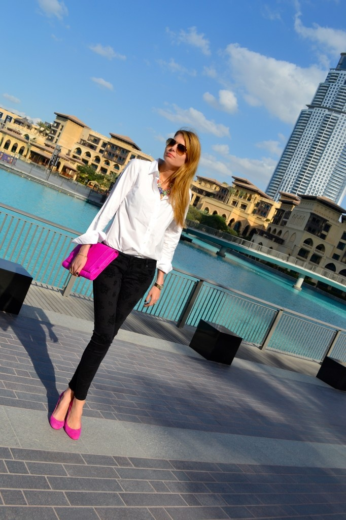 Bright heels and bright clutch