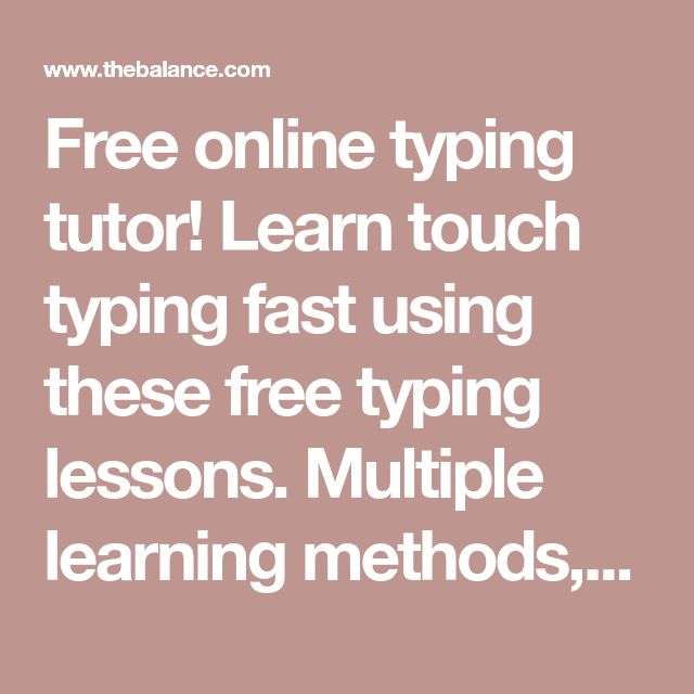 Free online typing tutor! Learn touch typing fast using these free typing lessons. Multiple learning methods, and custom lesson. Set target speed and accuracy.