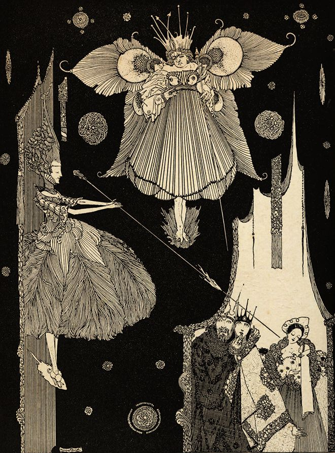 Illustration by Harry Clarke for the tale 'Blue Beard' Showing the fairies casting their spell on the infant princess. From the book 'Fairy Tales of Charles Perrault – Illustrated by Harry Clarke'