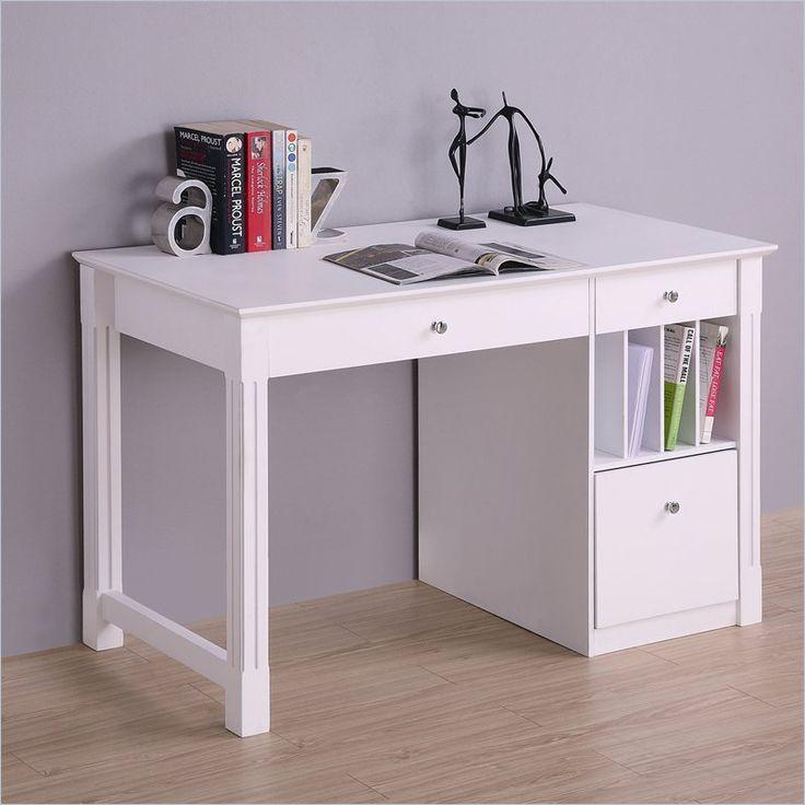 Walker Edison Deluxe Solid Wood Desk in White - DW48D30WH