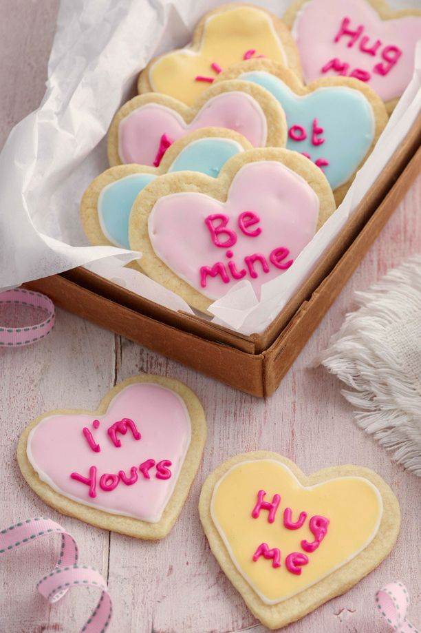 Scribble love messages on these almond flavoured heart-shaped biscuits for your loved one - a great treat for Valentine's Day! | Tesco