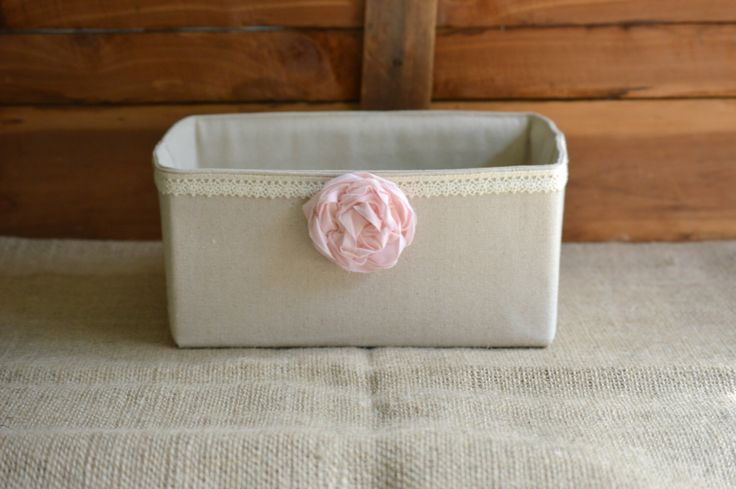 Shabby Chic Diaper Bin Canvas and Lace Caddy Basket Farmhouse Basket PINK Peony Flower Girl Baby Shower Gift by 1295MapleAvenue on Etsy https://www.etsy.com/listing/255898440/shabby-chic-diaper-bin-canvas-and-lace