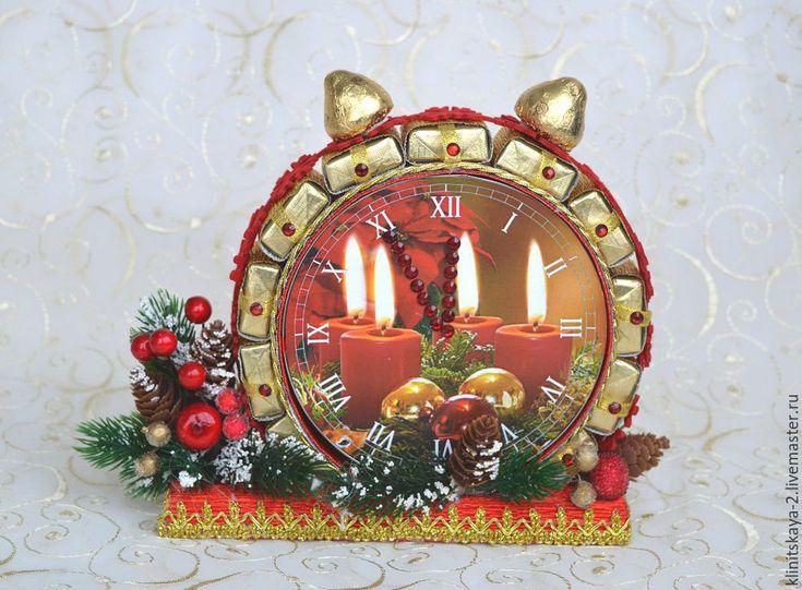 Купить Букет из конфет, новогодние часы, будильник из конфет с банкой печенья - сладкий подарок