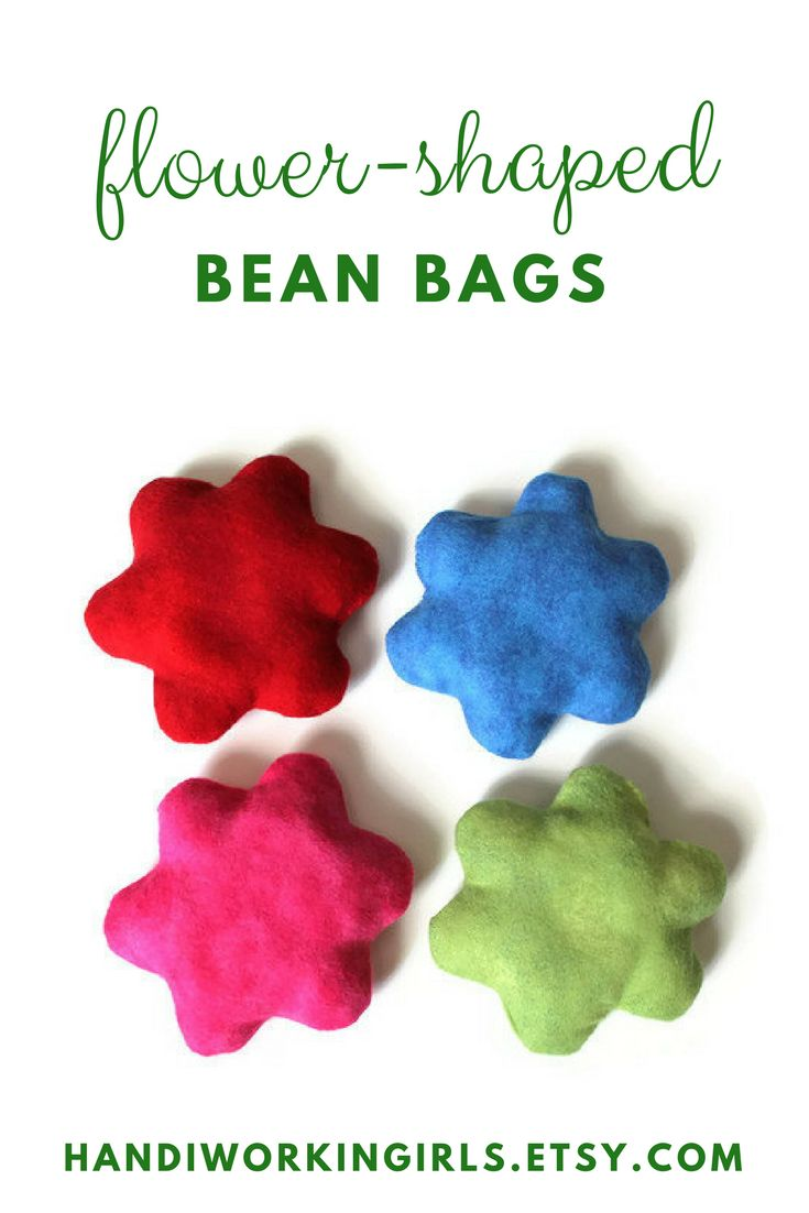 Our cute flower-shaped bean come in set of four and include red, hot pink, blue, and green for adding a summery feel to any party: https://www.etsy.com/handiworkingirls/listing/238335500/green-blue-pink-red-flower-bean-bags-set