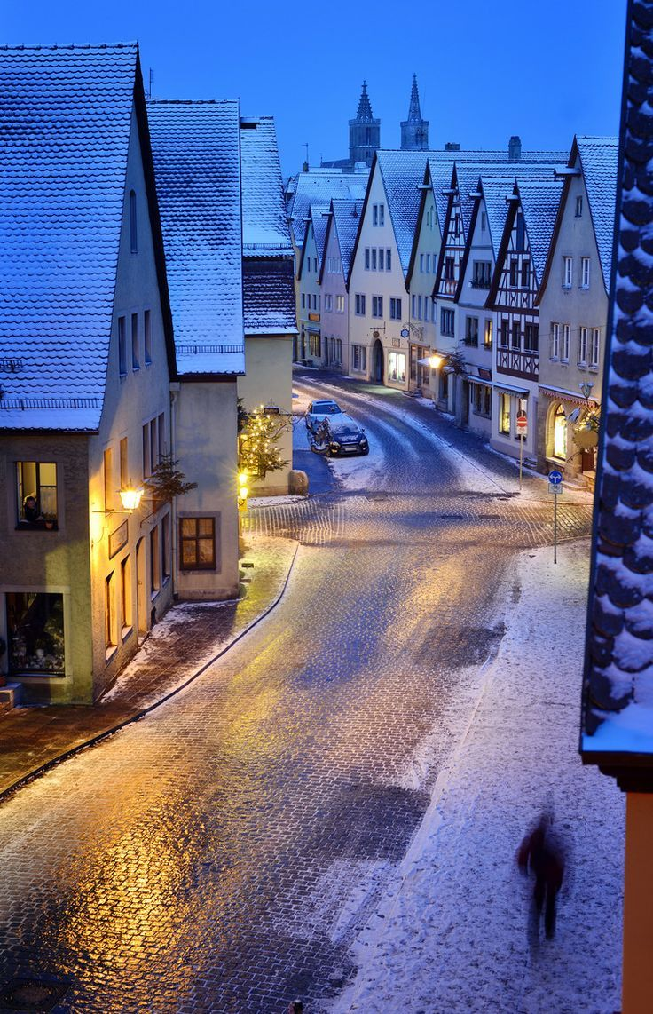 One of my favorite places! Snowy Night, Rothenburg, Germany