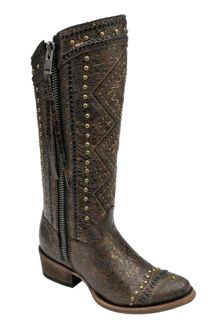 Corral Ethnic Embroidery Lace and Stud Women's Cowgirl Boots - HeadWest Outfitters