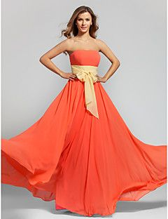 Floor-length Chiffon Bridesmaid Dress - Watermelon Plus Sizes / Petite A-line Strapless