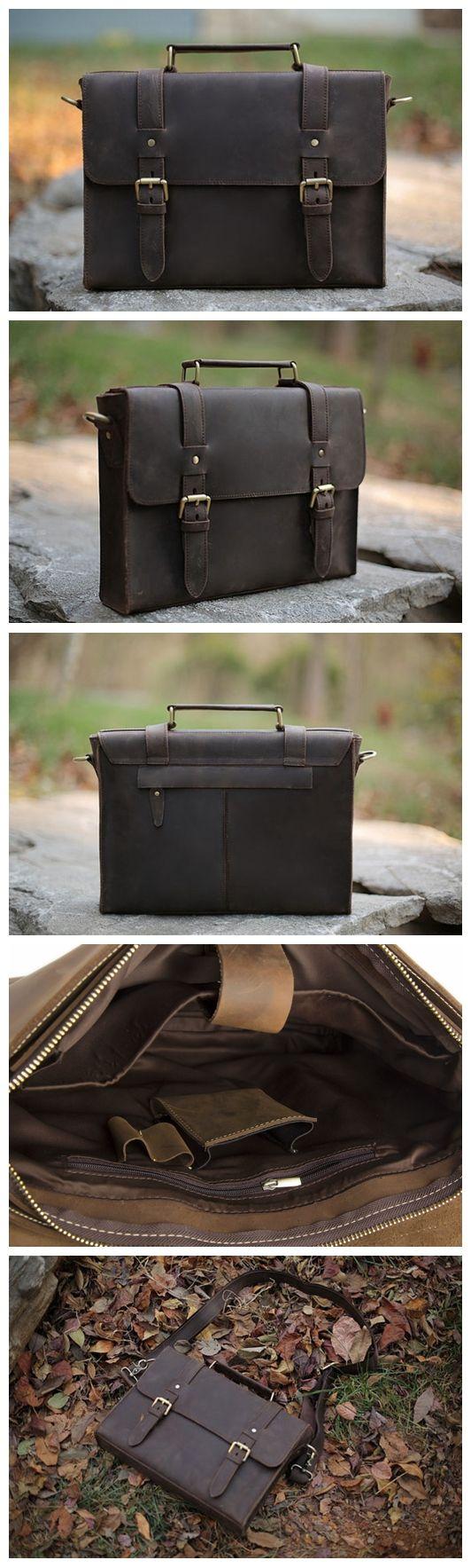 """Vintage Style Leather Briefcase Messenger Bag Satchel Bag Crossbody Shoulder Bag Model Number: 12007 Dimensions: 13.4""""L x 1.9""""W x 9.8""""H / 34cm(L) x 5cm(W) x 25cm(H) Weight: 2.2lb / 1.0kg Hardware: Bra"""