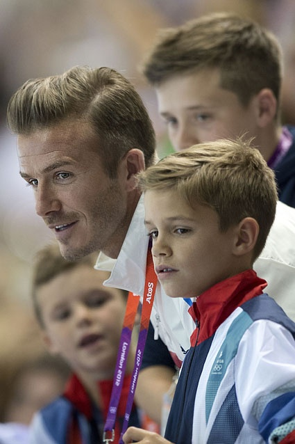 Wow Moment    David Beckham and his three sons watch the Olympic gold medal basketball game in rapt attention on August 12 in London.