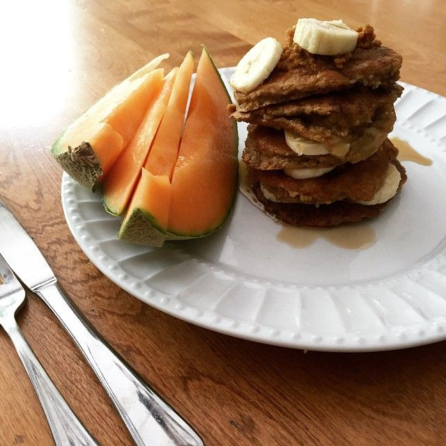 because what's the weekend without pancakes  Banana Oatmeal Protein Pancakes with fresh cantaloupe