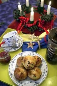 St Lucia wreath, French press coffee, saffron raisin buns with lingonberry jam...