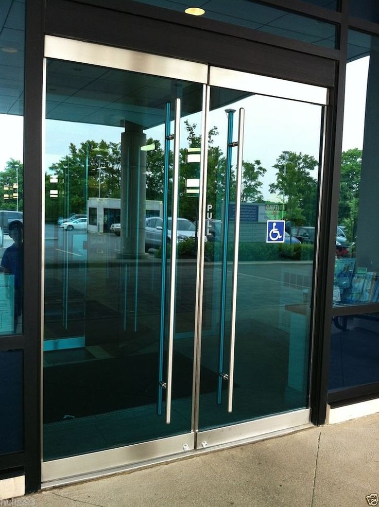 Stainless steel entry entrance store front frameless glass for Glass sliding entrance doors