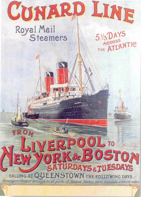 Victorian poster depicting either Campania or her sister Lucania, Blue Riband champions in the 1890's.