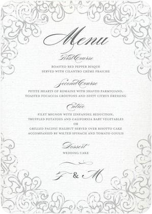 Dazzling Lace - Signature White Menu Cards - Sarah Hawkins Designs - Gunmetal - Gray   www.WeddingPaperDivas.com