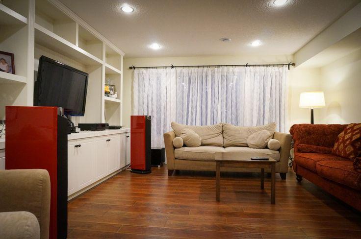 Family Room, Music Room, home, Edmonton, Prima Luna, Focal, REL T9, DiaLogue Two, Chorus 826 W, Kimber Kable, built-ins,
