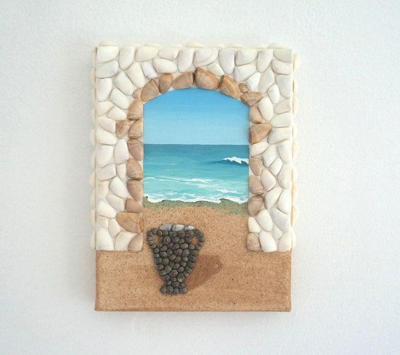 Acrylic Painting, Artwork with Seashells and Sand, Arch & Urn in Seashell Mosaic on Sand, Mosaic Art, 3D Art Collage, Wall and Home Decor #ArtworkwithSeashells #mosaiccollage #seashellmosaic #homedecor #walldecor #3D