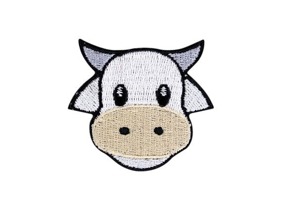 Cow Face Emoji Embroidered Iron On Patch Applique - FREE SHIPPING