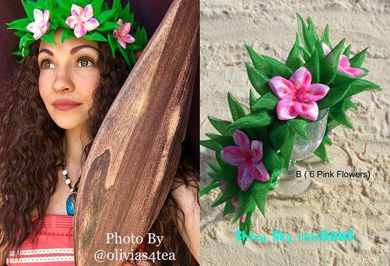 1 Moana inspirado corona de flores flores de Moana Disney