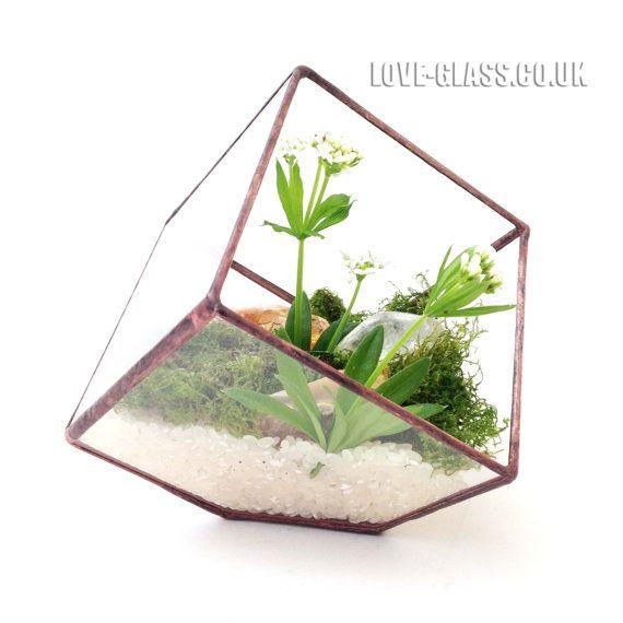SALE Cube Small Geometric Glass Terrarium / Handmade Planter / Indoor Gardening / Urban Garden for Air Plant, Succulent & Cactus