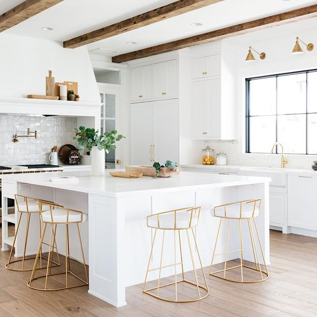 l-shaped seating at island, white kitchen | gather projects ...