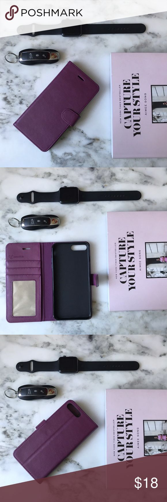 Purple iPhone 7s Wallet Phone Case ✨All sale proceeds are donated, so TY in advance. See my profile for info. ✨   New, never used iPhone case in gorgeous color. 3 card slots with visible identification card slot. Magnetic closure. Accessories Phone Cases