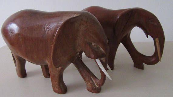 Vintage Gift. Mid Century Teak Elephants x 2. Hand Carved