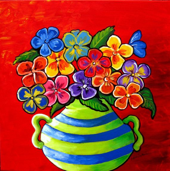 #colorful #art on etsy Pansies Fun Floral Giclee Canvas PRINT