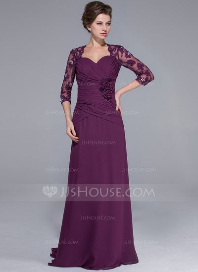 Mother of the Bride Dresses - $156.99 - A-Line/Princess Sweetheart Sweep Train Chiffon Tulle Mother of the Bride Dress With Lace Beading Flower(s) (008025694) http://jjshouse.com/A-Line-Princess-Sweetheart-Sweep-Train-Chiffon-Tulle-Mother-Of-The-Bride-Dress-With-Lace-Beading-Flower-S-008025694-g25694