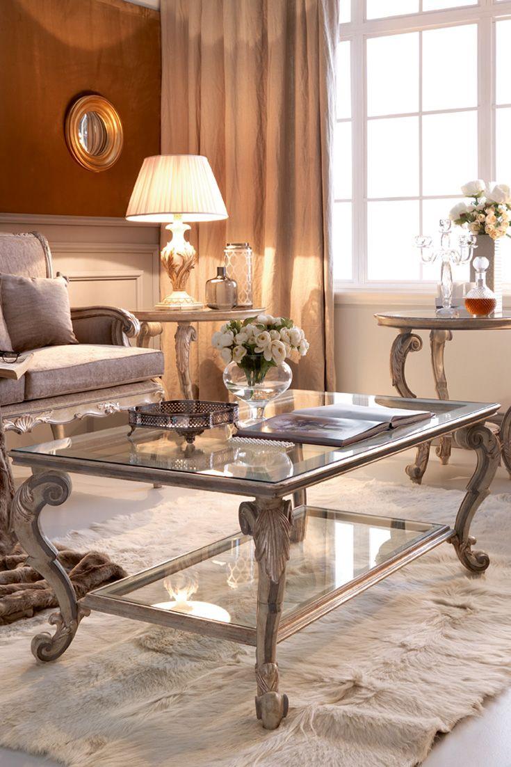 Classic Italian Ornate Designer Glass Coffee Table S Izobrazheniyami
