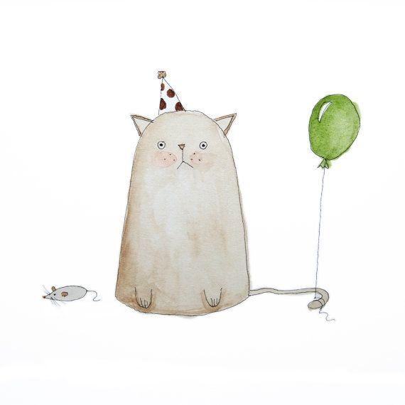 Kids Wall Art, Cat Watercolour Painting, Cat Illustration, Nursery Art, Original Art, Children, Birthday, Animal, Cute, Green, Poosac