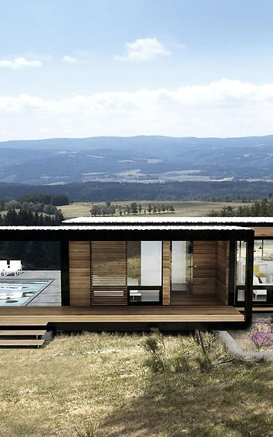 shipping container home with deck pool. what a view.