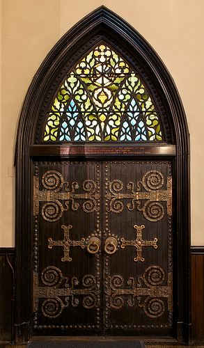 decorative hinges and Stained Glass Window by Louis Comfort Tiffany, New York City by notmydayjobphotography, via Flickr