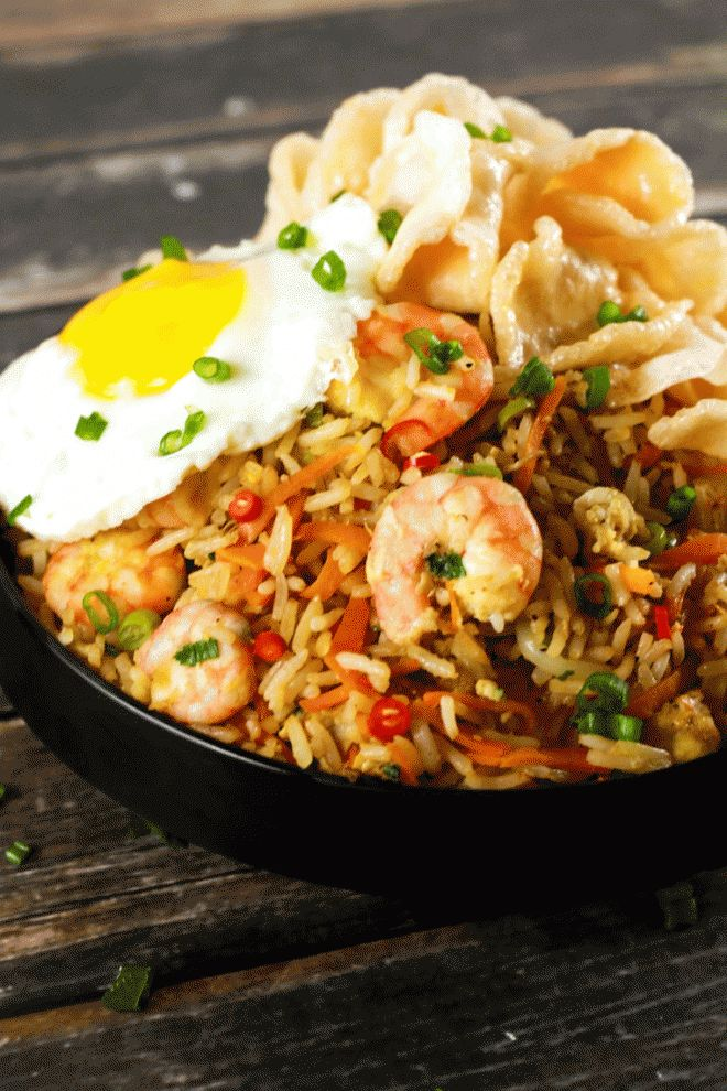 Spicy Indonesian Fried Rice Shrimp Nasi Goreng - Make this delicious spicy…
