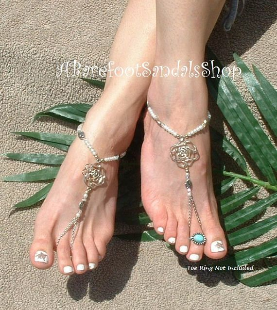 Silver DIAMANTE Pearl Toe Ring Ankle Bracelet Barefoot Sandals