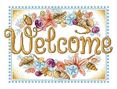 Seashell Welcome - cross stitch pattern designed by Ursula Michael. Category: Sayings.
