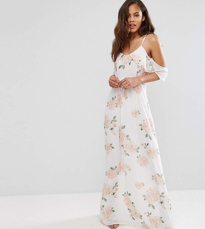John Zack Tall Allover Rose Floral Cold Shoulder Maxi Dress